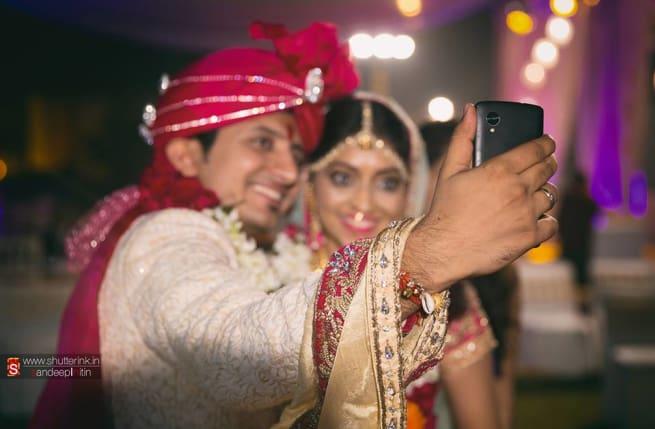 Selfie By Bride And Groom