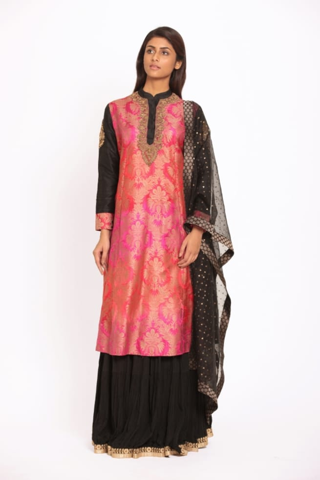 Beautiful Pink And Black Sharara