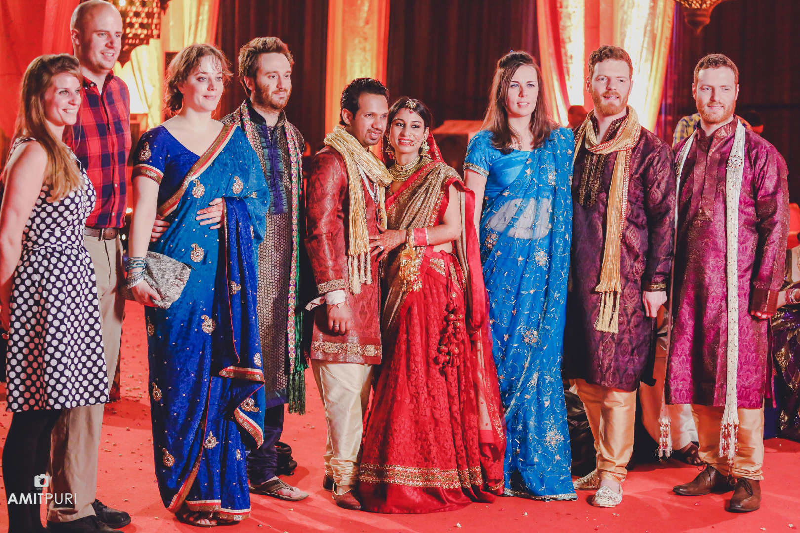 wedding couple with friends:amit puri photography