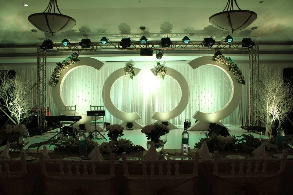 stage decoration:purple tree event solutions
