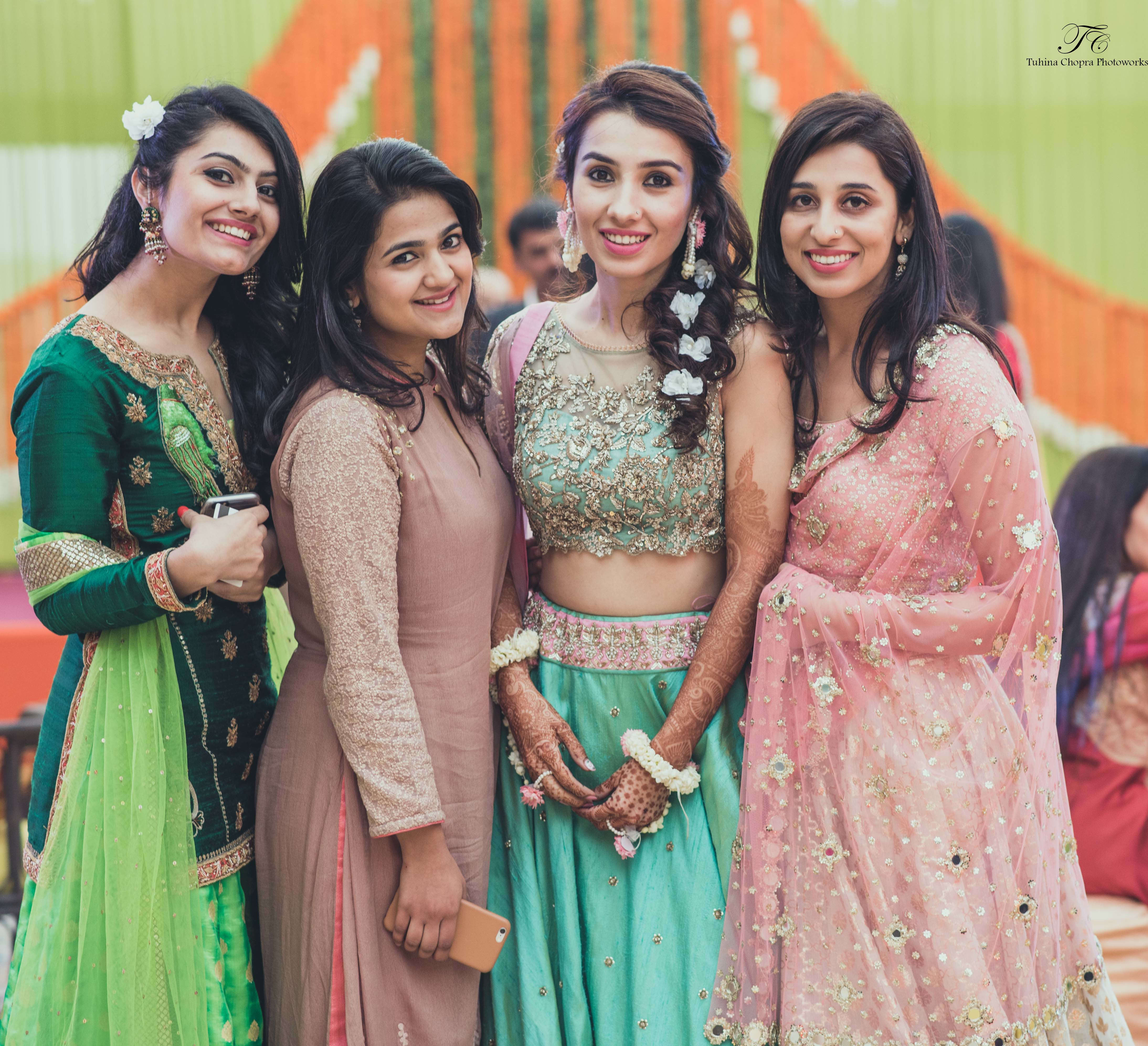 bride and her bridesmaids:tuhina chopra photoworks