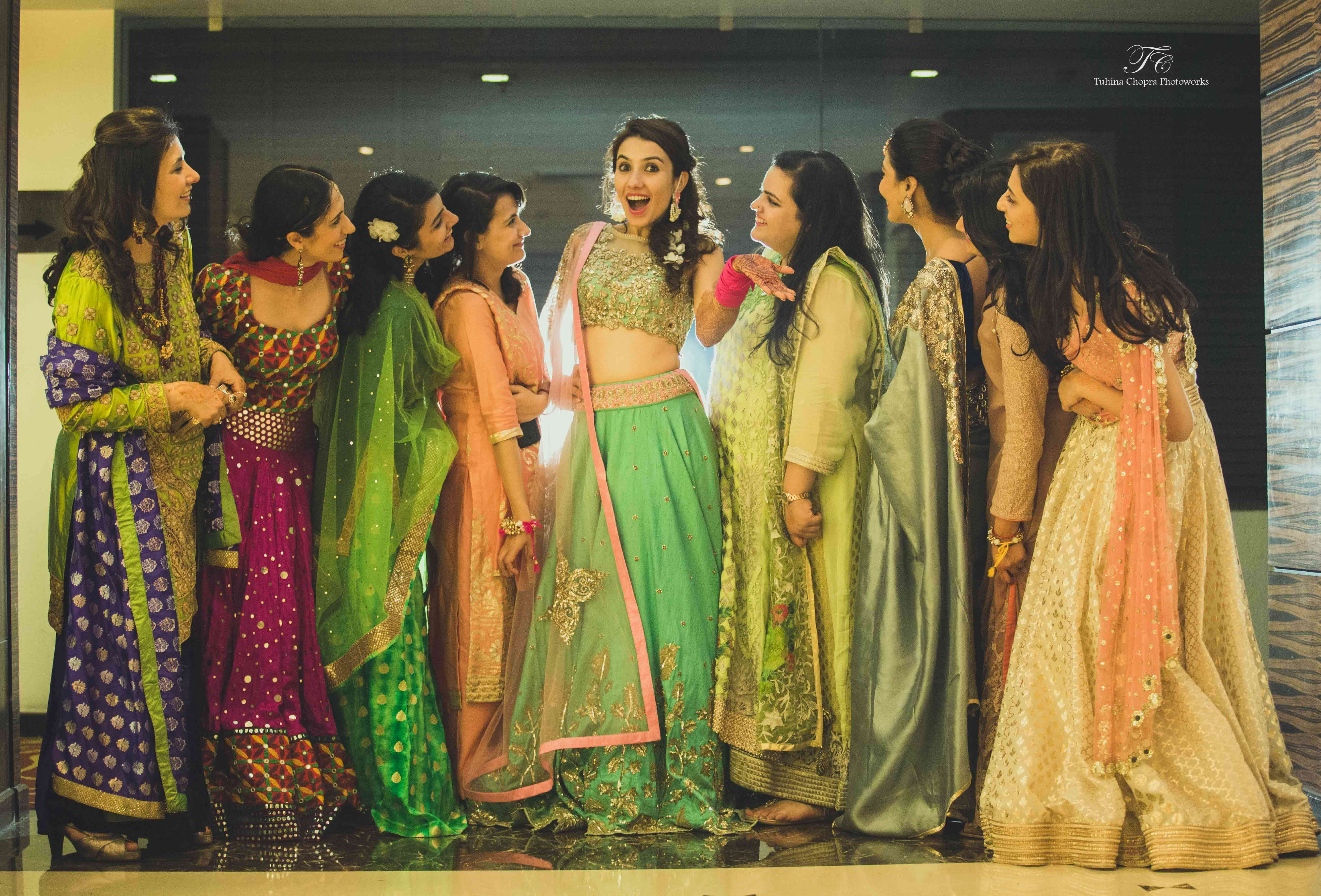 bride with bridesmaids:tuhina chopra photoworks