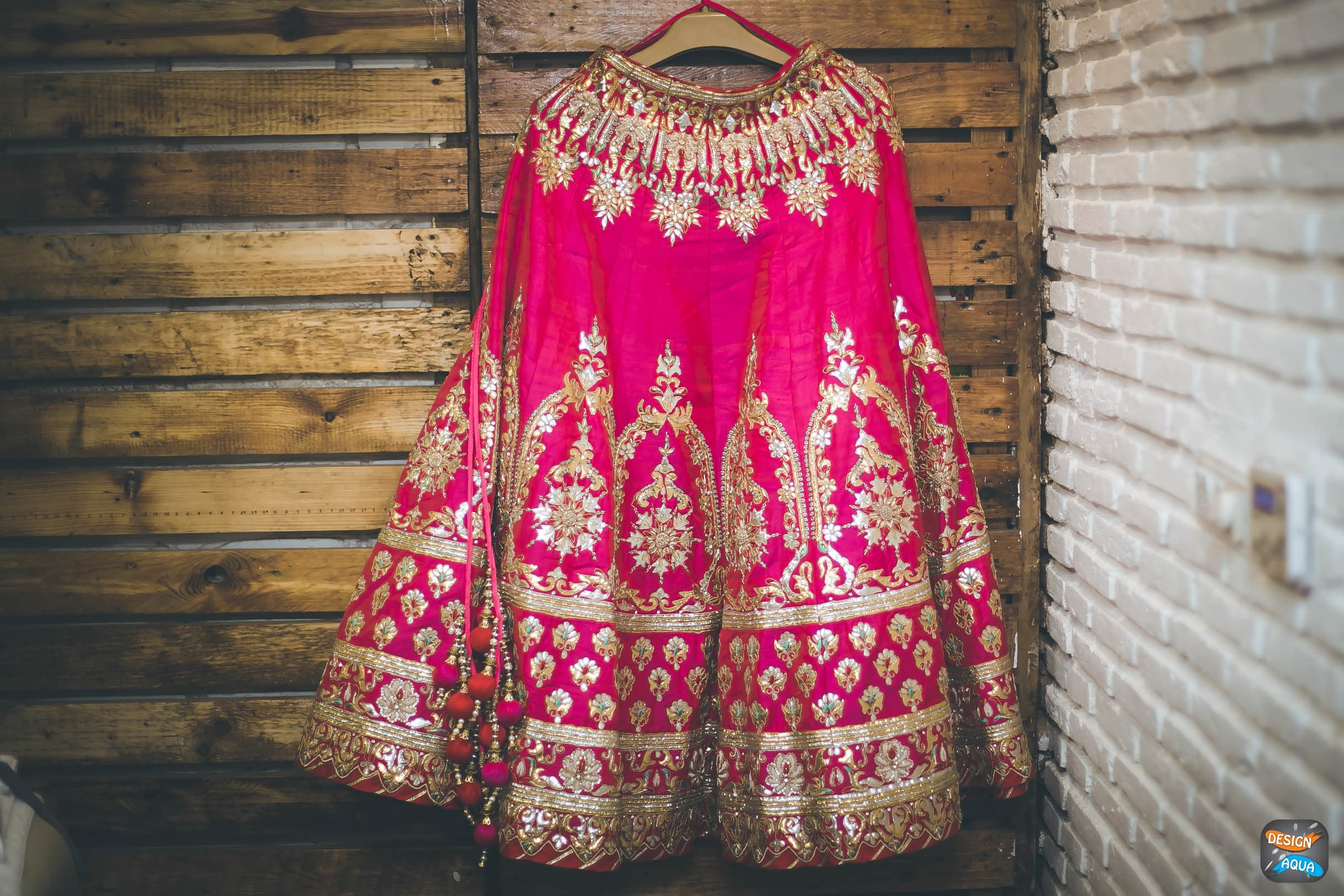 wedding lehenga shot:design aqua, asiana couture, rani pink