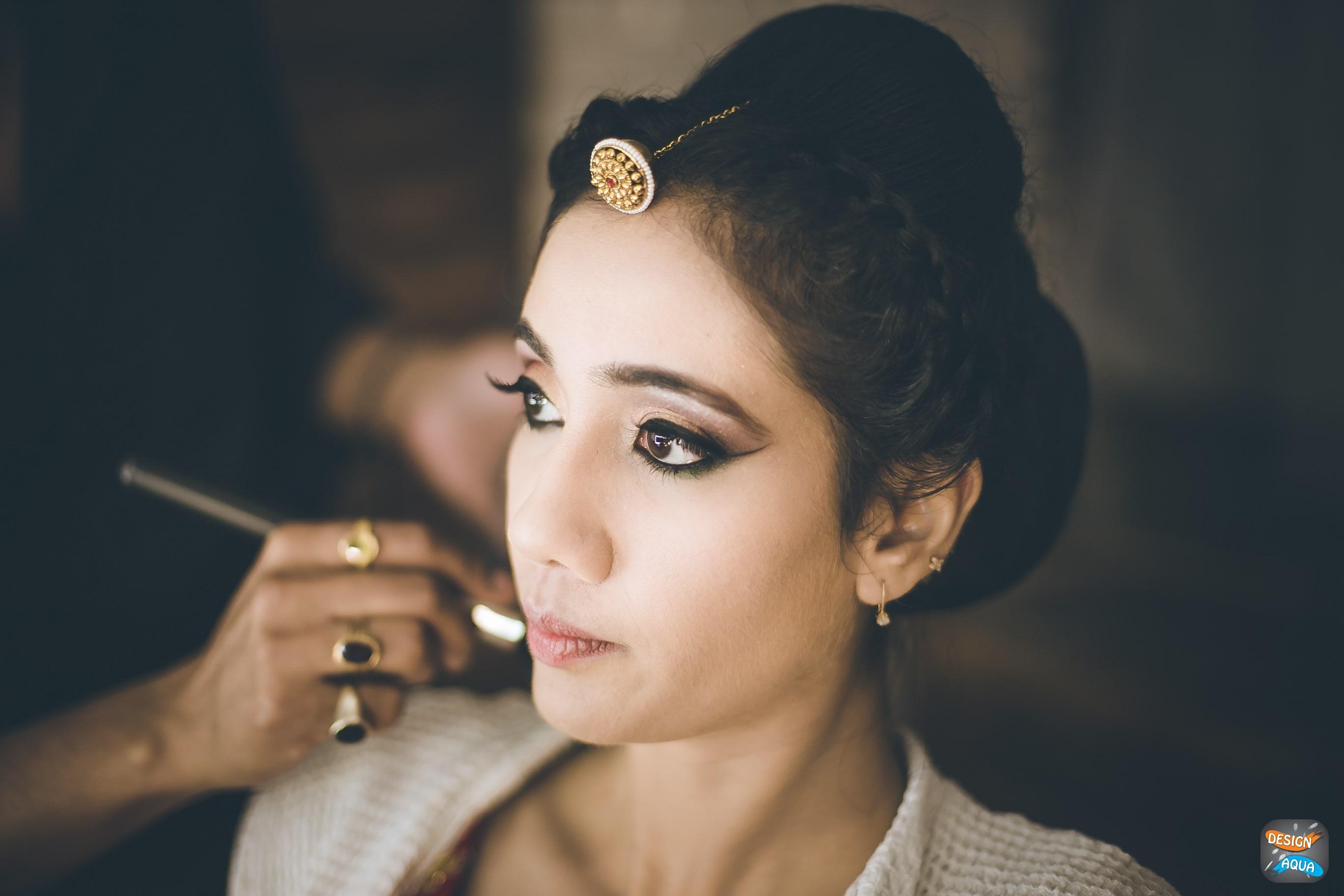 bridal makeup shot:design aqua, asiana couture, rani pink