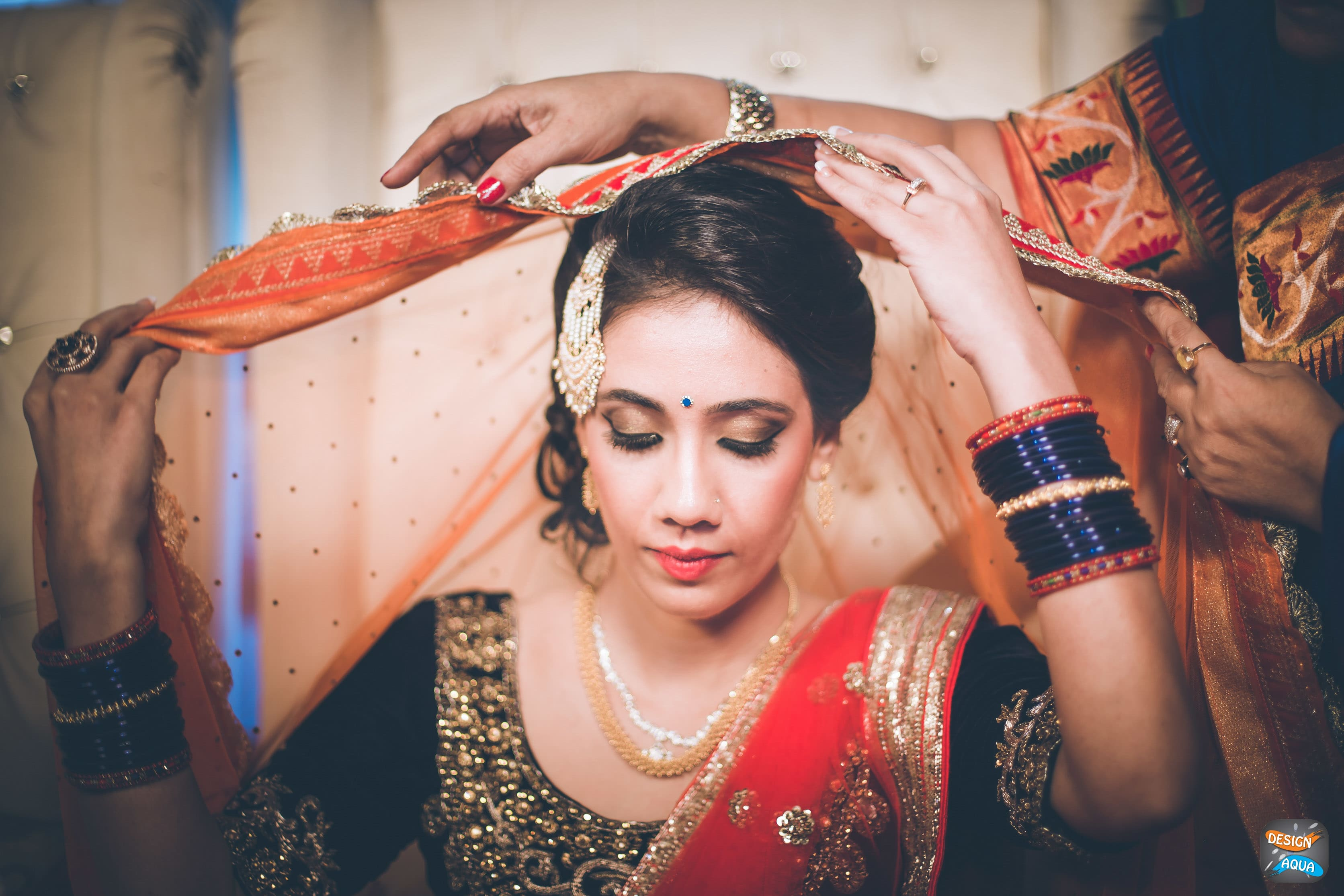 wedding ritual shot:design aqua, asiana couture, rani pink