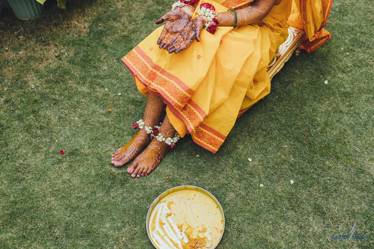 ritual of haldi:bridal makeup by kajal sharma, sonder frames, stallion events