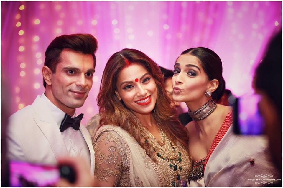 bipasha basu and karan singh grover reception:the wedding filmer, sabyasachi couture pvt ltd, anushree reddy