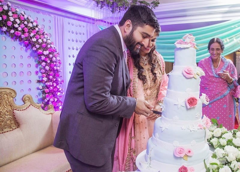 the wedding cake!:hazoorilal jewellers, cupcake productions, jagdish jewellers, stallone manor, hyatt regency ludhiana, aarushi oswal makeup artist, prerna khullar makeup artist, stitch by sarab khanijou, rimple and harpreet narula couture, dolly j