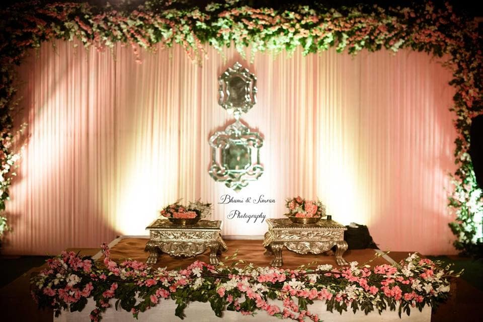 beautiful wedding decor!:kundan mehandi art, taj palace, bhumi and simran photography, makeup by simran kalra, shweta poddar photography, anoo flower jewellery, abhinav bhagat events