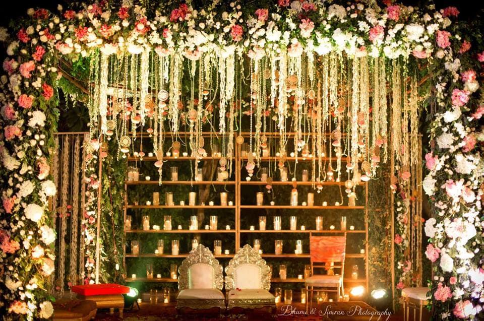 the wedding decoration!:kundan mehandi art, taj palace, bhumi and simran photography, makeup by simran kalra, shweta poddar photography, anoo flower jewellery, abhinav bhagat events