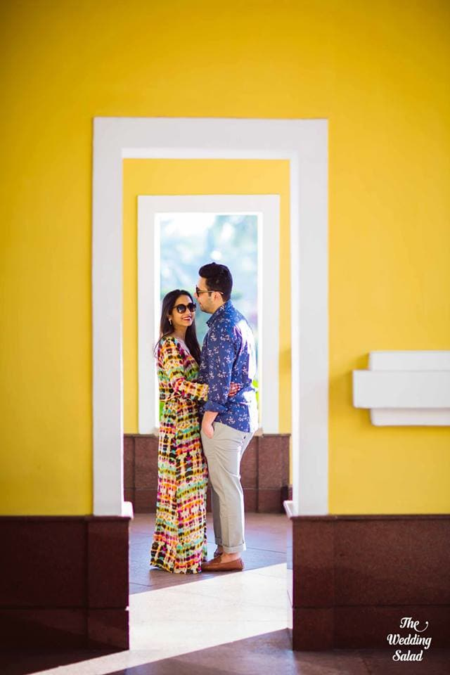 the cute couple!:priyal prakash house of design, the wedding salad, manish malhotra, anita dongre, gaurav gupta designer