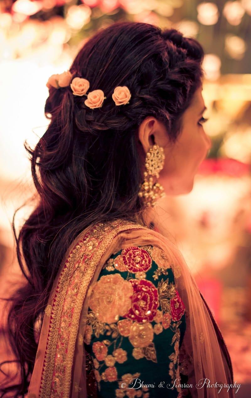 the mesmerizing hairstyle!:shri ram hari ram jewellers, hyatt regency delhi, taj palace, bhumi and simran photography, manish malhotra, elements decor, anu kaushik makeup artist, shantanu and nikhil, sabyasachi couture pvt ltd