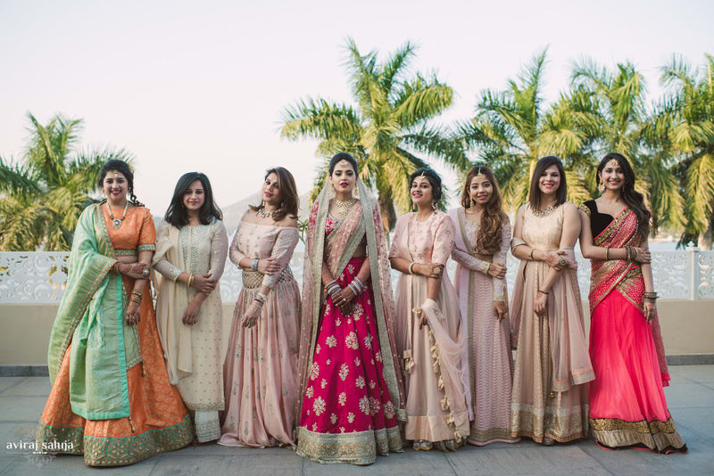 the bride squad!:aviraj saluja, shyamal and bhumika, makeup by reema patil, sabyasachi couture pvt ltd, dolly j