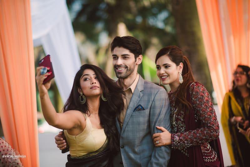 the lovebirds!:aviraj saluja, shyamal and bhumika, makeup by reema patil, sabyasachi couture pvt ltd, dolly j