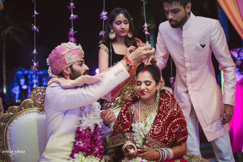 the wedding ceremony!:aviraj saluja, shyamal and bhumika, makeup by reema patil, sabyasachi couture pvt ltd, dolly j
