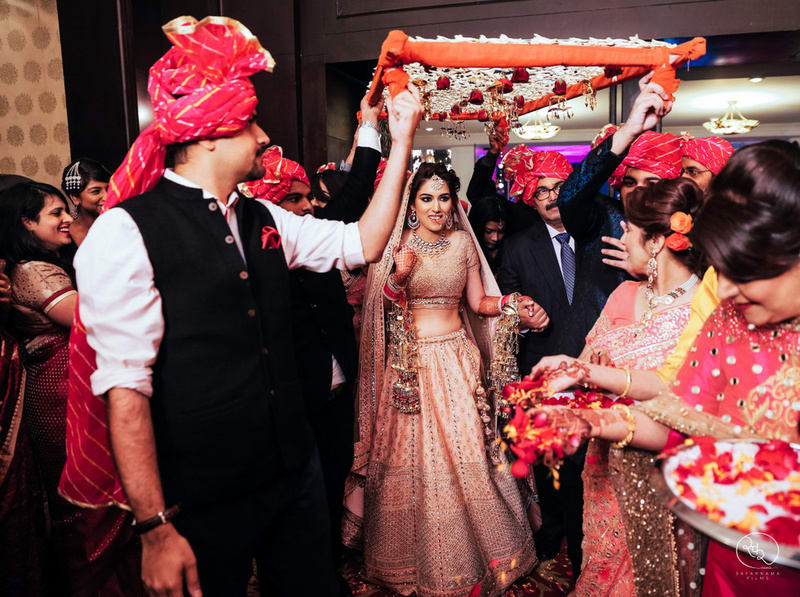 the bride entry!:country inn and suites, lakshya manwani photography, om parkash jawahar lal, isha khanna makeup artist