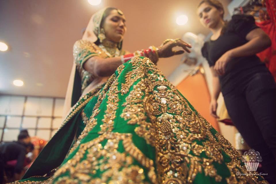 beautiful green bridal lehenga:cupcake productions