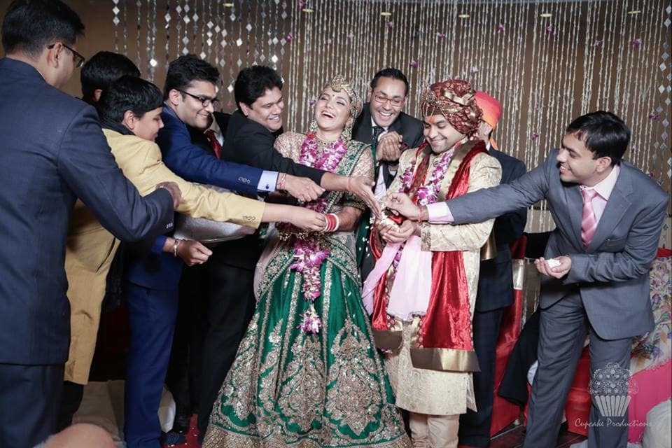 masti with bride and groom:cupcake productions