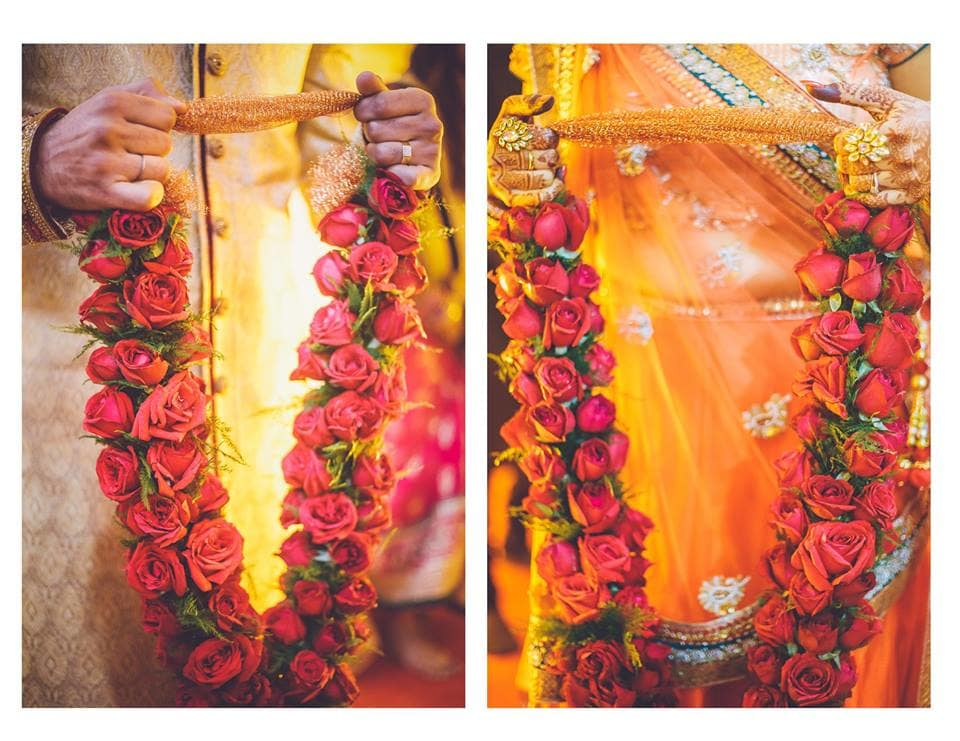 varmala ceremony:girl in pink photography