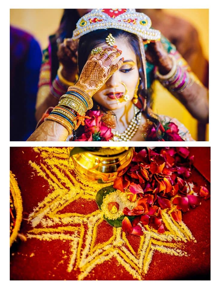 wedding rituals with bride:girl in pink photography