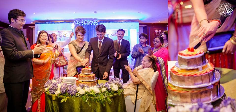 cake cutting by bride and groom:amour affairs