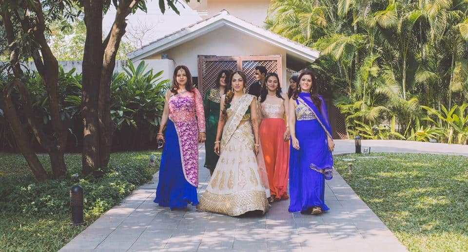 brides entry with friends:f5 weddings