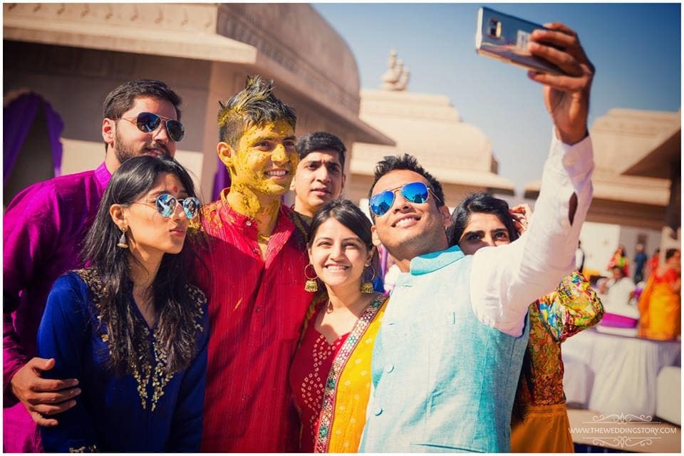 selfie with bride groom:the wedding story